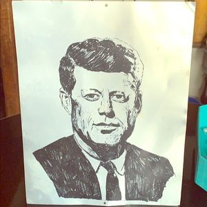 VINTAGE ETCHING OF PRESIDENT KENNEDY